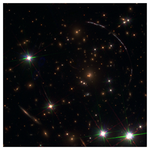 Image of the Sunburst arc and its lensing foreground galaxy cluster in UV and optical light.