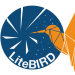 Logo for the LiteBIRD telescope, a yellow hummingbird in front of a blue satellite dish